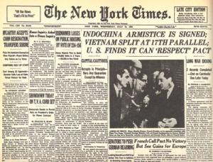 Nửa trang nhất tờ New York Times ra ngày 21 tháng 7, 1954 chỉ đi 3 cột về kết quả Hội nghị Geneve chia đôi Việt Nam. (Tài liệu Viên Linh)
