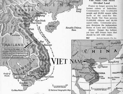 Hành trình của những chuyến tầu chở di cư từ Bắc vào Nam, 1954-1955. (Bản đồ trích từ National Geographic số ra tháng 6-1955)