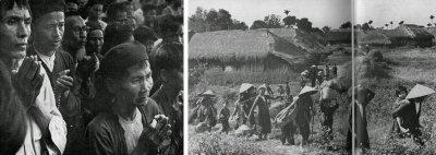 """Hình trên và trái, một nhóm dân di cư Thiên Chúa Giáo cầu nguyện trước khi rời quê cha đất tổ ra đi. Phải, một nhóm dân làng gồng gánh bỏ cửa bỏ nhà, ruộng vườn và mồ mả cha ông lên đương tìm di cư vào Nam vì không chấp nhận sống duới chế độ cộng sản. Đây là một trong những người di cư đầu tiên và đã không bị Việt Minh tìm cách ngăn cản như nhiều vạn người sau này. Theo một vị linh mục nhân chứng, đã có khoảng 70 ngàn người ở Thái Bình và các vùng phụ cận muốn di cư vào Nam nhưng bị Viêt Minh ngăn chặn (""""Operation Passage to Freedom"""", tr. 139). (Ảnh National Geographic, tháng 6, 1955)"""