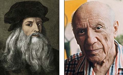 Hai họa sĩ thiên tài Leonardo Da Vinci (trái) và Pablo Picasso (phải) đều mắc bệnh khó đọc, viết