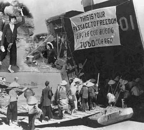 Dân miền Bắc di cư vào Nam (1954). Hiệp định đình chỉ chiến sự ở Việt Nam (Hiệp định đình chiến Genève) ngày 20-7-1954 chia hai nước Việt Nam tại sông Bến Hải. Nguồn: internet