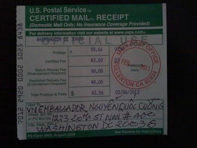 (*) Biên nhận bức thư đã gởi bảo đảm ngày 6/2/2013