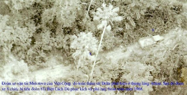 (Đoàn xe Molotova 8 chiếc do Thám Sát Delta phát hiện, đã bị Tiểu Đoàn 91 Biệt Cách Dù phục kích thiêu hủy toàn bộ tại thung lũng Ashau)