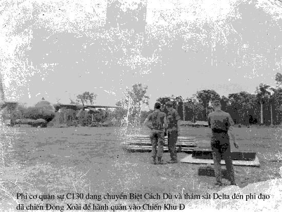 (Phi Cơ C.130 đang chuyển Thám Sát Delta và Tiểu Đoàn 91 BCD đến Phi Trường Đồng Xoài)