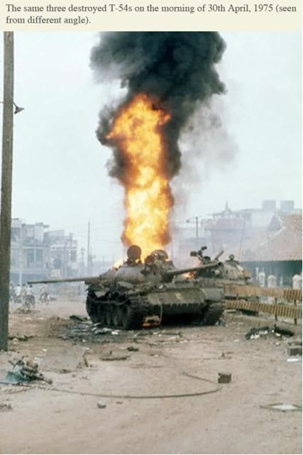 Chiến Xa địch bị các Chiến Sĩ Biệt Cách Dù, bắn cháy ở Lăng Cha Cả trong ngày 30.4.1975