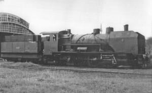 """Một trong 3 đầu máy xe lửa hiệu Borsig 2-8-0 """"Hợp nhất"""" (số 300-302) mà CVFLNCI đã mua."""