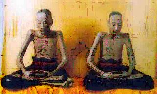 Nhục thân của 2 vị đại sư Vũ khắc Trường (bên trái) và Vũ Khắc Minh ở chùa Đậu