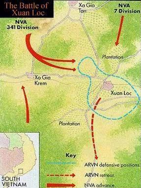 Xuân Lộc và các đơn vị VNCH nằm trong vòng đai màu xanh